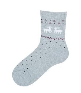 جوراب نیم ساق حولهای طرح دو گوزن کریسمس خاکستری