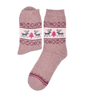 جوراب پشمی حولهای Coco & Hana طرح گوزن و کاج صورتی