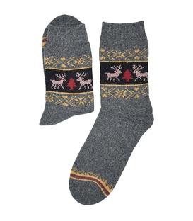 جوراب پشمی حولهای Coco & Hana طرح گوزن و کاج خاکستری تیره