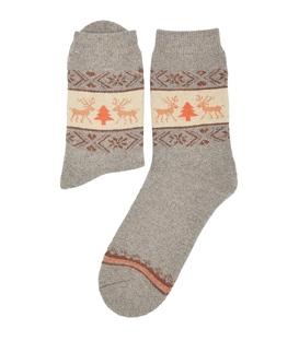 جوراب پشمی حولهای Coco & Hana طرح گوزن و کاج کرم