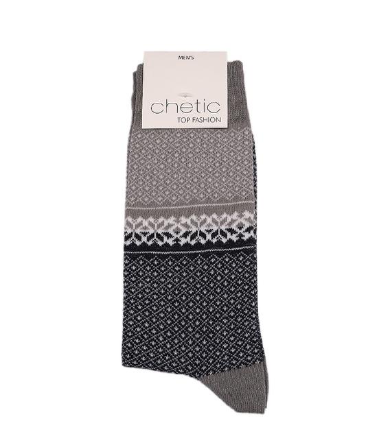 جوراب Chetic طرح هندسی سرمهای خاکستری