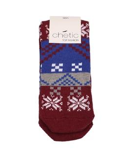 جوراب پشمی کف استپ دار Chetic چتیک طرح زمستانی زرشکی