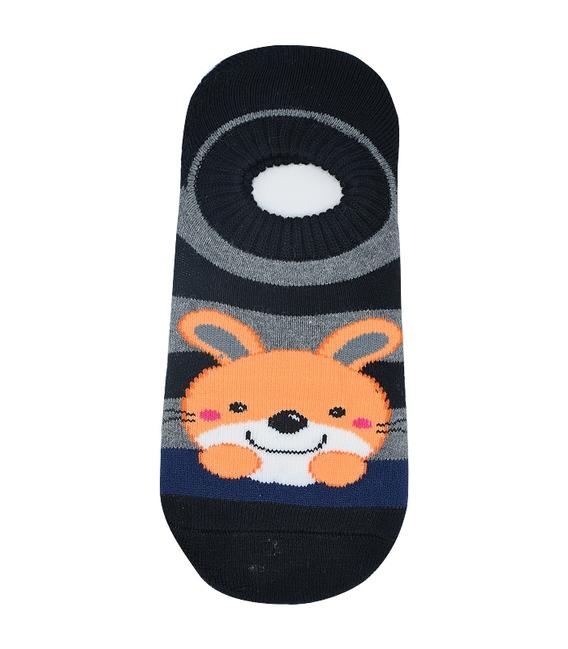 جوراب حولهای کف استپدار طرح خرگوش مشکی