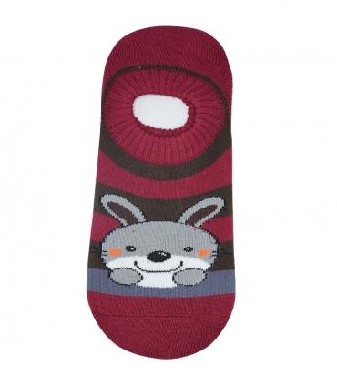 جوراب حولهای کف استپدار طرح خرگوش زرشکی