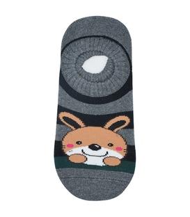 جوراب حولهای کف استپدار طرح خرگوش خاکستری