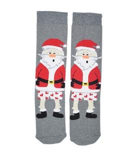 جوراب حولهای طرح بابانوئل متعجب خاکستری