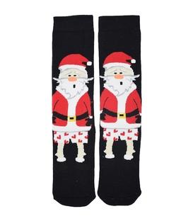 جوراب حولهای طرح بابانوئل متعجب مشکی