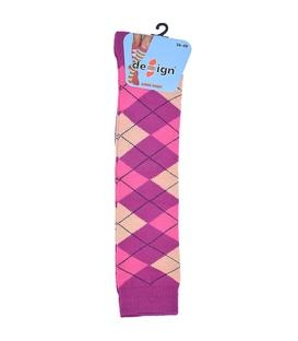 جوراب زیر زانو دیزاین طرح لوزی ارغوانی