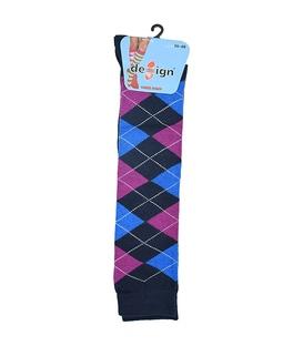 جوراب زیر زانو دیزاین طرح لوزی سرمهای