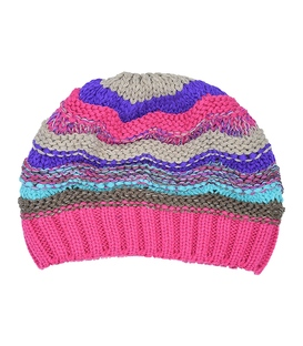 کلاه دست بافت طرح امواج صورتی