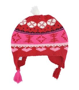 کلاه دست بافت رو گوشی منگوله دار قرمز سفید