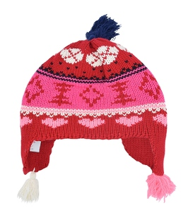 کلاه دست بافت رو گوشی منگوله دار قرمز سرمهای