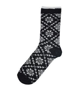 جوراب پشمی طرح برف مشکی