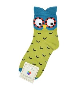 جوراب نیم ساق طرح جغد سبز