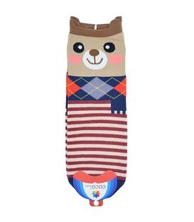 جوراب نیم ساق گوشدار طرح خرس راه راه قهوهای
