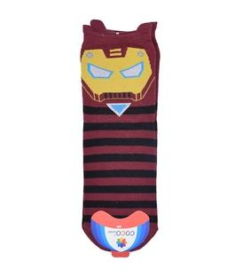 جوراب نیم ساق گوشدار طرح Iron Man زرشکی