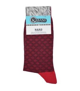 جوراب نانو ساق بلند Kabani طرح لوزی قرمز