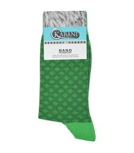 جوراب نانو ساق دار Kabani طرح لوزی سبز چمنی