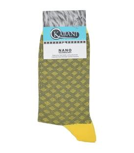 جوراب نانو ساق بلند Kabani طرح لوزی زرد