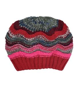 کلاه دست بافت طرح امواج قرمز