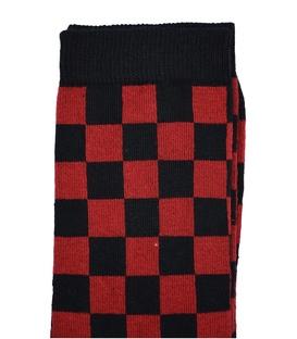 جوراب ساق بلند Chetic شطرنجی قرمز مشکی