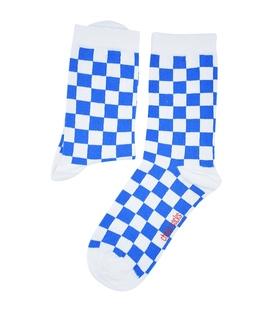 جوراب ساق دار Chetic چتیک شطرنجی آبی
