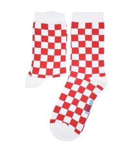 جوراب ساق دار Chetic چتیک شطرنجی قرمز سفید