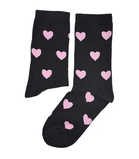 جوراب ساق دار بوم طرح قلب مشکی صورتی