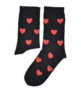 جوراب ساقدار بوم طرح قلب مشکی قرمز
