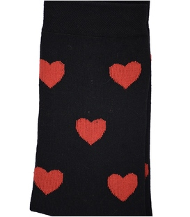 جوراب ساق بلند بوم طرح قلب مشکی قرمز