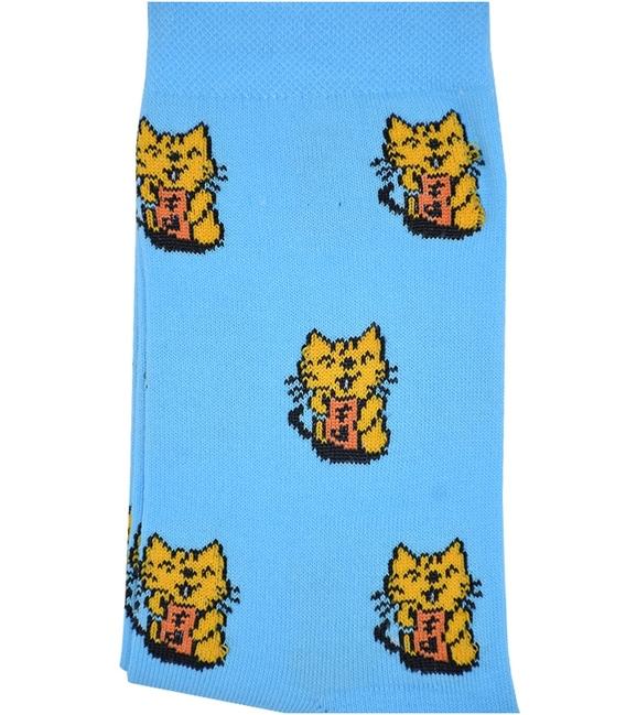 جوراب ساق بلند بوم طرح گربه آبی