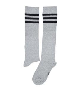 جوراب بالا زانو سه خط خاکستری مشکی