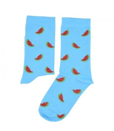 جوراب ساق دار بوم طرح هندوانه آبی