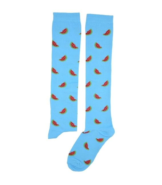 جوراب زیر زانو بوم طرح هندوانه آبی