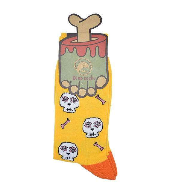 جوراب ساق دار داینو ساکس طرح اسکلت زرد