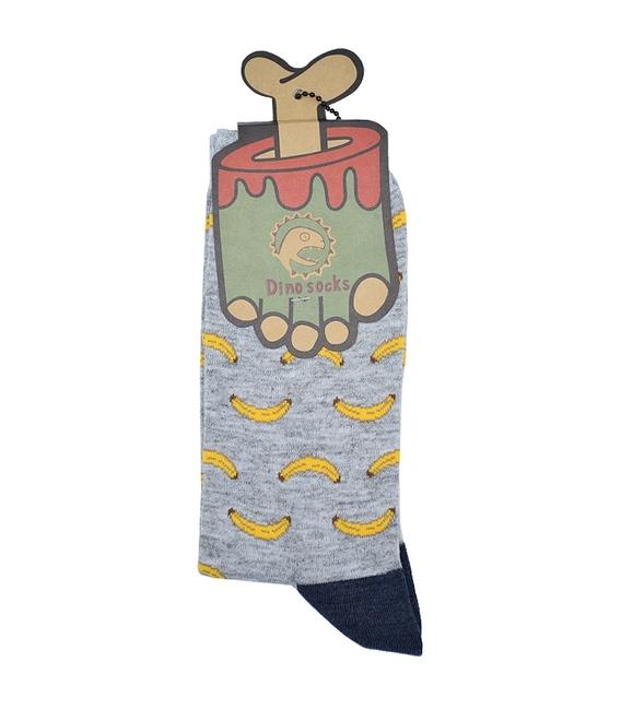 جوراب ساق دار داینو ساکس طرح موز خاکستری