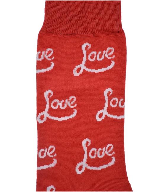 جوراب نانو لنگه به لنگه ساق دار پاآرا طرح عشق و بوسه سفید قرمز