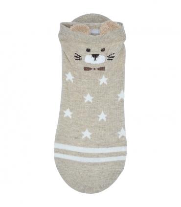 جوراب قوزکی گوشدار طرح گربه و ستاره کرم