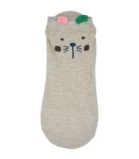 جوراب قوزکی گوشدار طرح گربه کرم