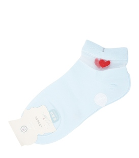 جوراب مچی توردار طرح قلب آبی