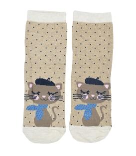 جوراب نیم ساق طرح گربه هنرمند قهوهای کرم