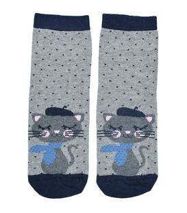 جوراب نیم ساق طرح گربه هنرمند خاکستری سرمهای