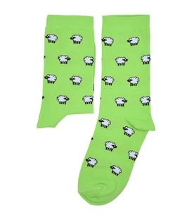 جوراب ساق دار بوم طرح گوسفند سبز