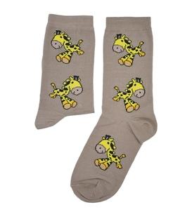 جوراب ساق دار بوم طرح زرافه قهوهای