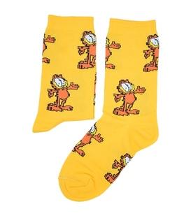 جوراب ساق دار بوم طرح گارفیلد زرد