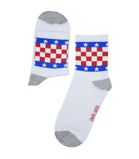 جوراب نیم ساق Chetic چتیک طرح چهارخونه و ستاره سفید
