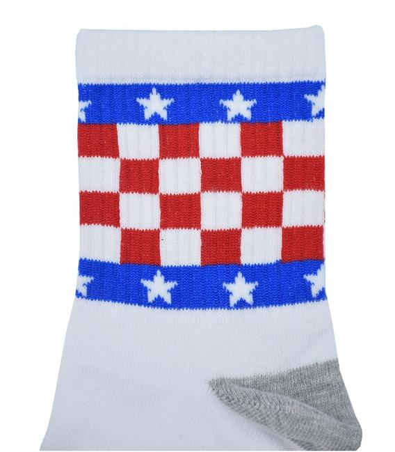 جوراب نیم ساق Chetic طرح چهارخونه و ستاره سفید