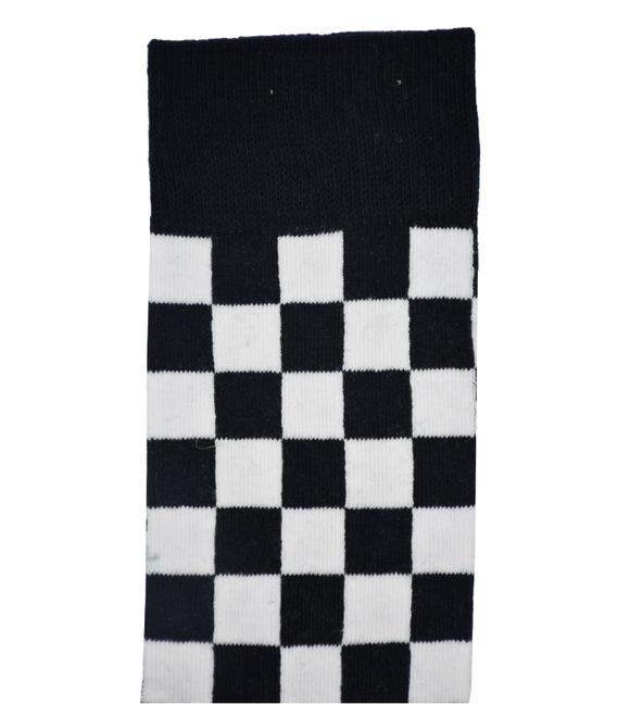 جوراب ساق بلند Chetic طرح چهارخانه مشکی سفید