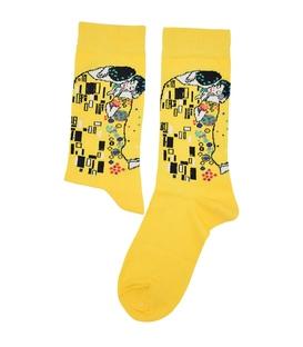 جوراب ساق دار هپی و مپی طرح بوسه کلیمنت زرد