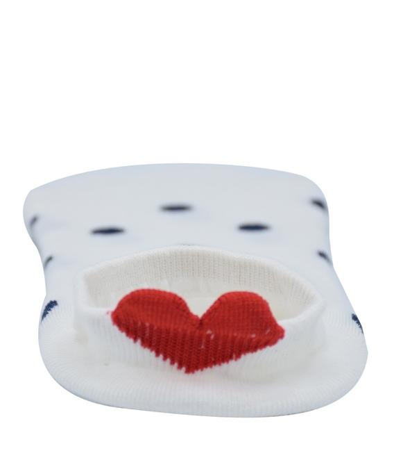 جوراب قوزکی پشت قلب دار طرح خال خالی سفید سرمهای